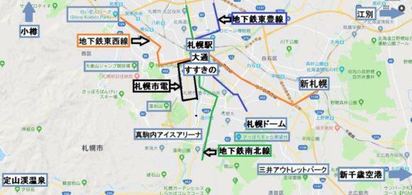 札幌市内のランドマークマップ