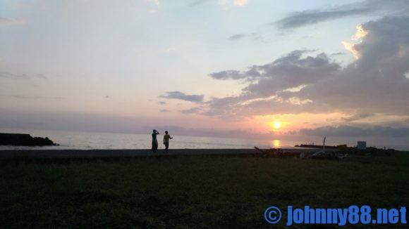 浜益川下海浜公園の夕陽
