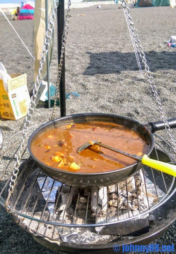 留萌ゴールデンビーチで朝カレー