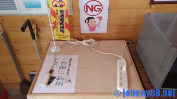 美笛キャンプ場の充電コーナー