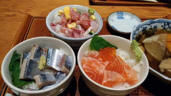 札幌駅ランチおすすめ「四季花まる」の「その日まかせのまんぷく丼3種」