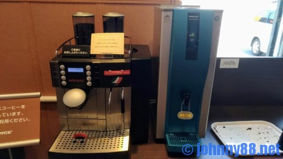 ロイズイートインコーナーのコーヒーメーカー