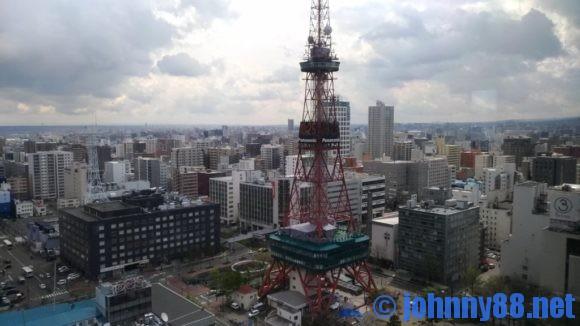 札幌市役所18階レストランライラックから見えるテレビ塔