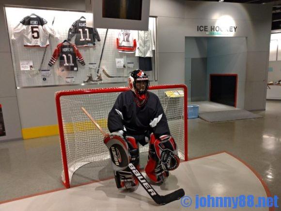 札幌オリンピックミュージアムのアイスホッケー ゴールキーパー体験