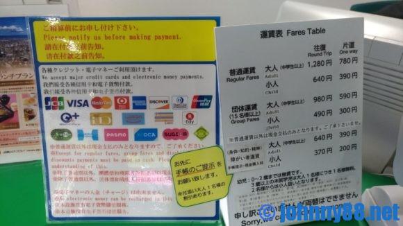 函館山ロープウェイの支払い方法