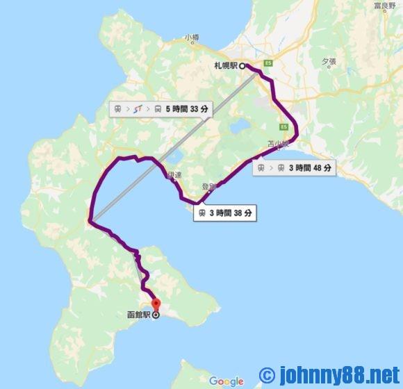 札幌から函館までJRで移動