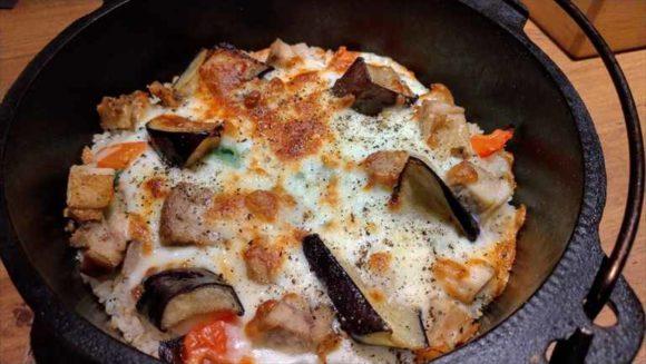 チキンと野菜のホワイトソースチーズパエリア