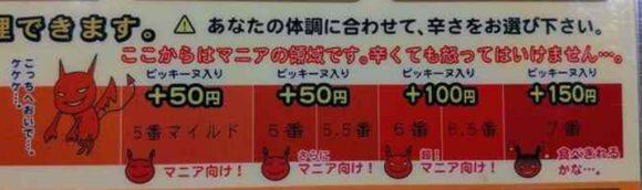 アジアンスープカレーべすの辛さ表