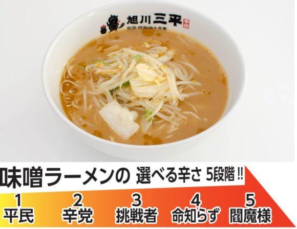 旭川三平本店の味噌ラーメン辛さ選び方