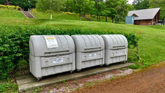 かなやま湖オートキャンプ場のゴミ箱