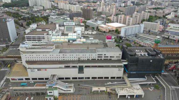 エミシア札幌から見たJR新札幌駅