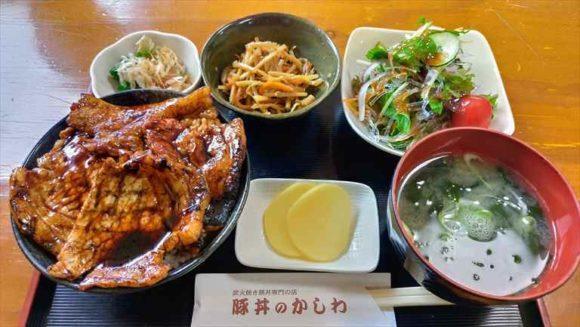 「豚丼のかしわ」(小)+サラダ・小鉢