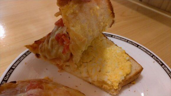 コメダ珈琲おすすめ①たっぷりたまごのピザトースト