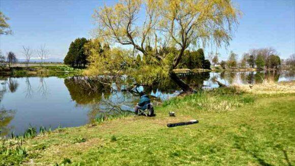 三重湖公園キャンプ場で釣り