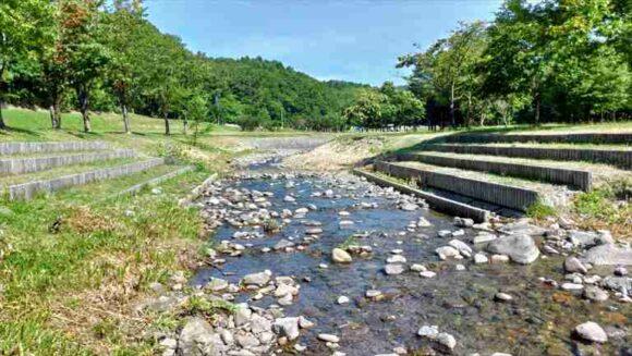 厚田キャンプ場(石狩)のフリーサイトBの川