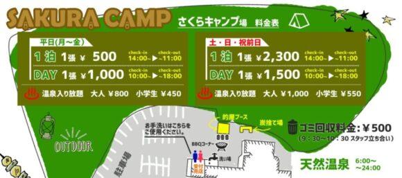 さくらキャンプ場(栗山)の料金システム