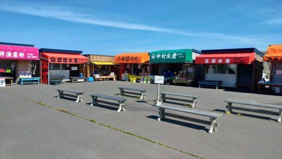 平日の厚田漁港朝市