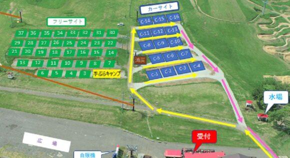ばんけいキャンプフィールドのサイト説明MAP
