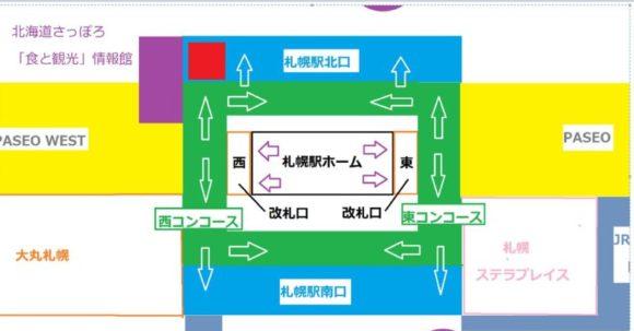 札幌駅西改札口と東改札口