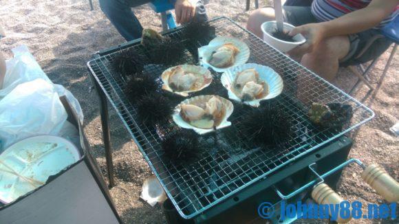 厚田漁港朝市(石狩)で買ったホタテでバーべーキュー