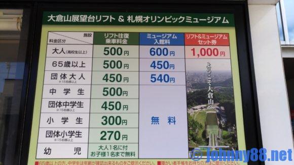 大倉山ジャンプ競技場の料金