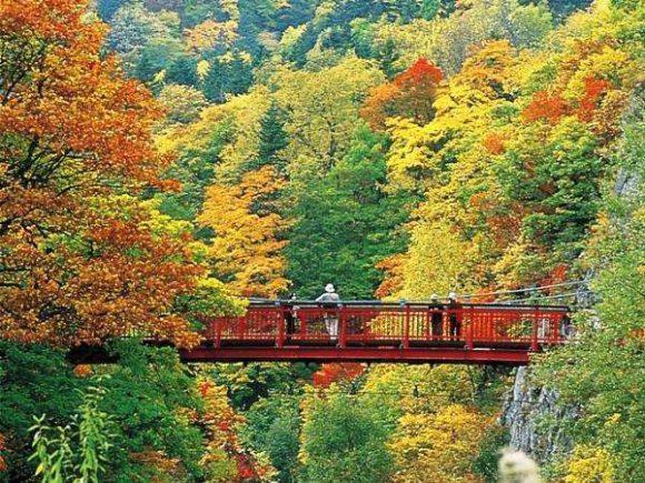 定山渓の名所「二見吊橋」