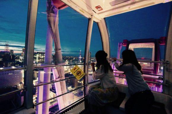 ノルベサの観覧車内から見た札幌の夜景